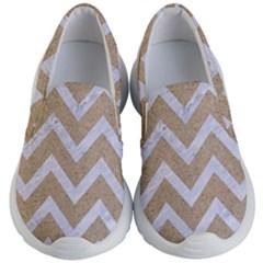 Chevron9 White Marble & Sand Kid s Lightweight Slip Ons by trendistuff