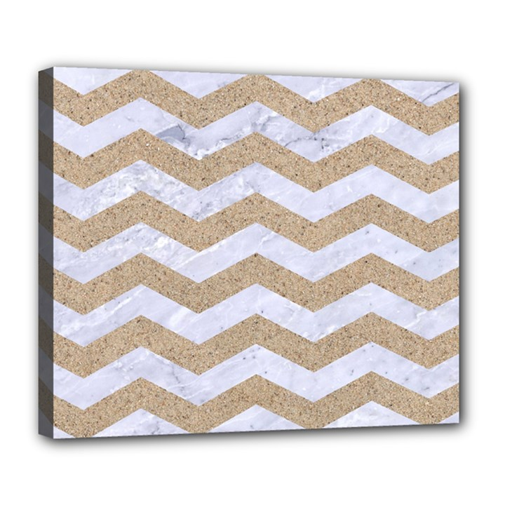CHEVRON3 WHITE MARBLE & SAND Deluxe Canvas 24  x 20