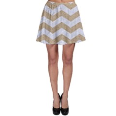 Chevron3 White Marble & Sand Skater Skirt