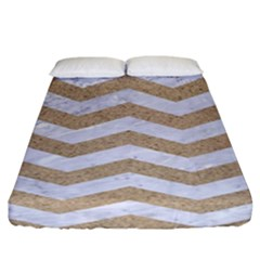 Chevron3 White Marble & Sand Fitted Sheet (king Size)