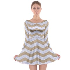 Chevron3 White Marble & Sand Long Sleeve Skater Dress