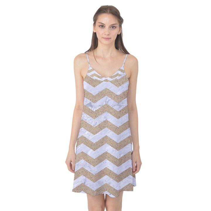 CHEVRON3 WHITE MARBLE & SAND Camis Nightgown