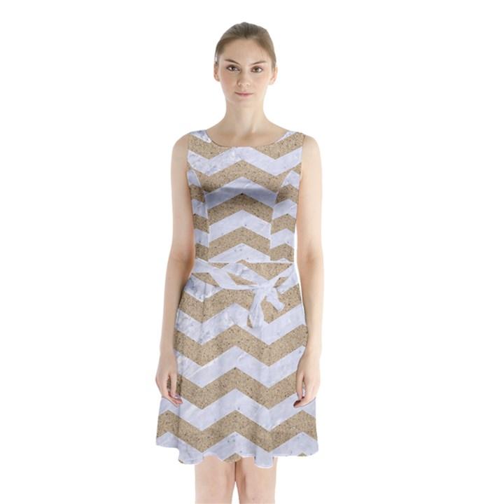 CHEVRON3 WHITE MARBLE & SAND Sleeveless Waist Tie Chiffon Dress
