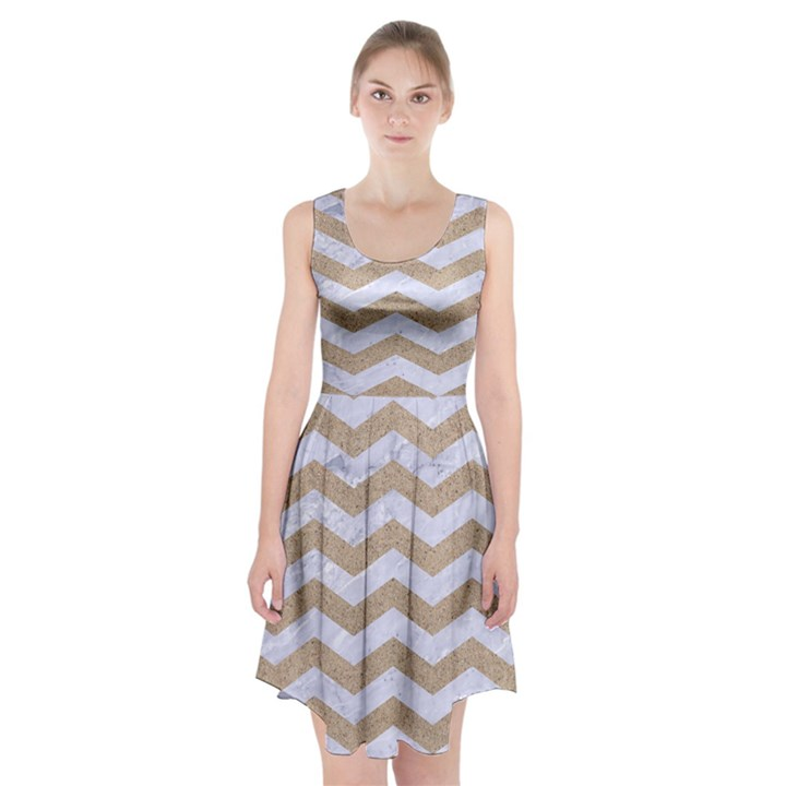 CHEVRON3 WHITE MARBLE & SAND Racerback Midi Dress