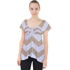 Chevron3 White Marble & Sand Lace Front Dolly Top