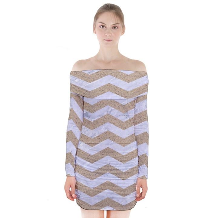 CHEVRON3 WHITE MARBLE & SAND Long Sleeve Off Shoulder Dress