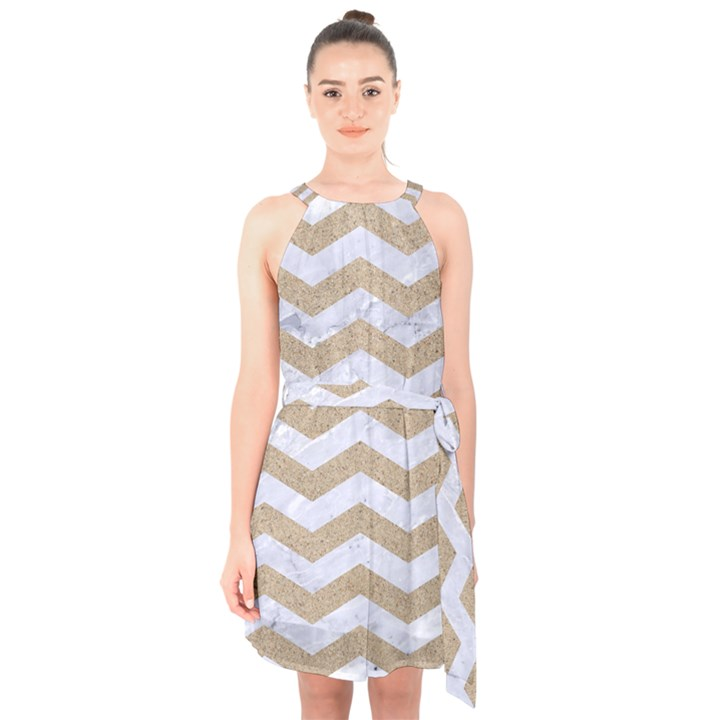 CHEVRON3 WHITE MARBLE & SAND Halter Collar Waist Tie Chiffon Dress
