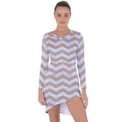 Chevron3 White Marble & Sand Asymmetric Cut Out Shift Dress