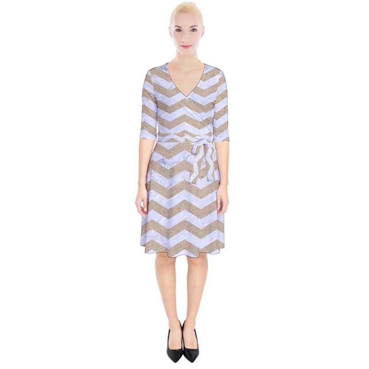 CHEVRON3 WHITE MARBLE & SAND Wrap Up Cocktail Dress
