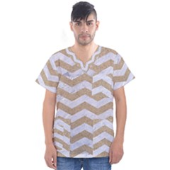 Chevron3 White Marble & Sand Men s V Neck Scrub Top