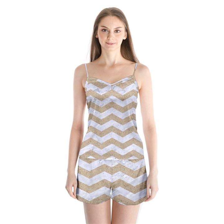 CHEVRON3 WHITE MARBLE & SAND Satin Pajamas Set