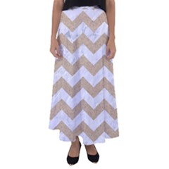 Chevron3 White Marble & Sand Flared Maxi Skirt
