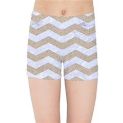 Chevron3 White Marble & Sand Kids Sports Shorts