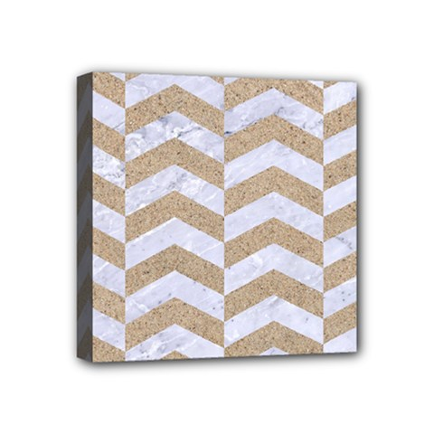 Chevron2 White Marble & Sand Mini Canvas 4  X 4