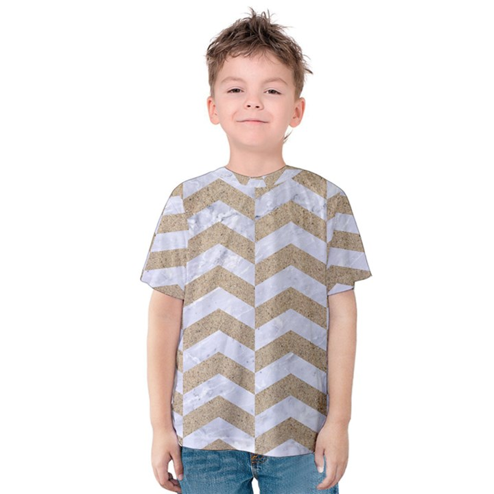 CHEVRON2 WHITE MARBLE & SAND Kids  Cotton Tee