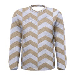 Chevron2 White Marble & Sand Men s Long Sleeve Tee