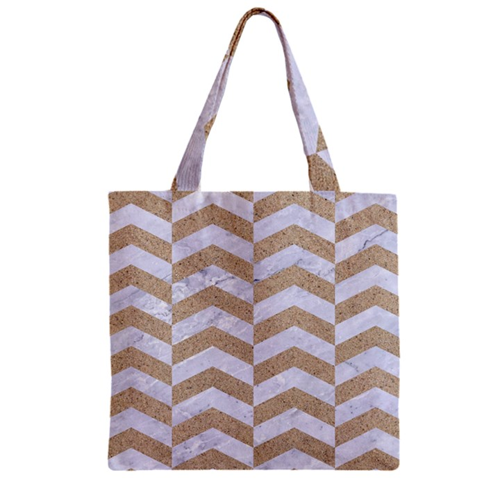 CHEVRON2 WHITE MARBLE & SAND Zipper Grocery Tote Bag