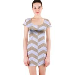 Chevron2 White Marble & Sand Short Sleeve Bodycon Dress