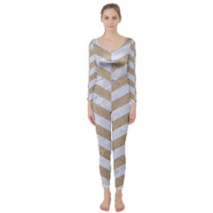 Chevron2 White Marble & Sand Long Sleeve Catsuit by trendistuff