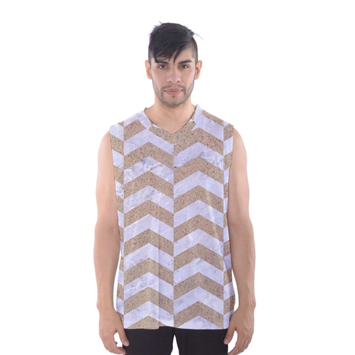 CHEVRON2 WHITE MARBLE & SAND Men s Basketball Tank Top