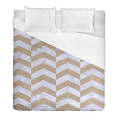 Chevron2 White Marble & Sand Duvet Cover (full/ Double Size)