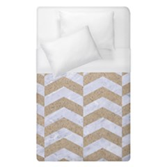 Chevron2 White Marble & Sand Duvet Cover (single Size)