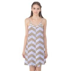 Chevron2 White Marble & Sand Camis Nightgown