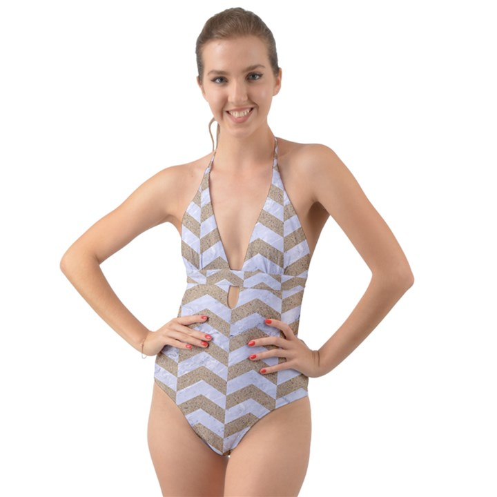 CHEVRON2 WHITE MARBLE & SAND Halter Cut-Out One Piece Swimsuit