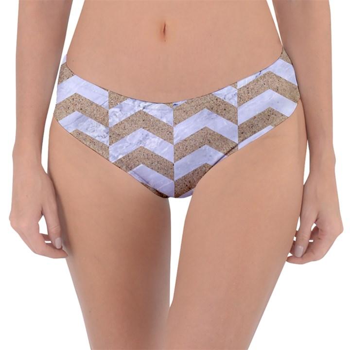 CHEVRON2 WHITE MARBLE & SAND Reversible Classic Bikini Bottoms