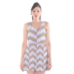 Chevron2 White Marble & Sand Scoop Neck Skater Dress