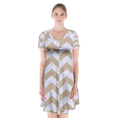 Chevron2 White Marble & Sand Short Sleeve V Neck Flare Dress