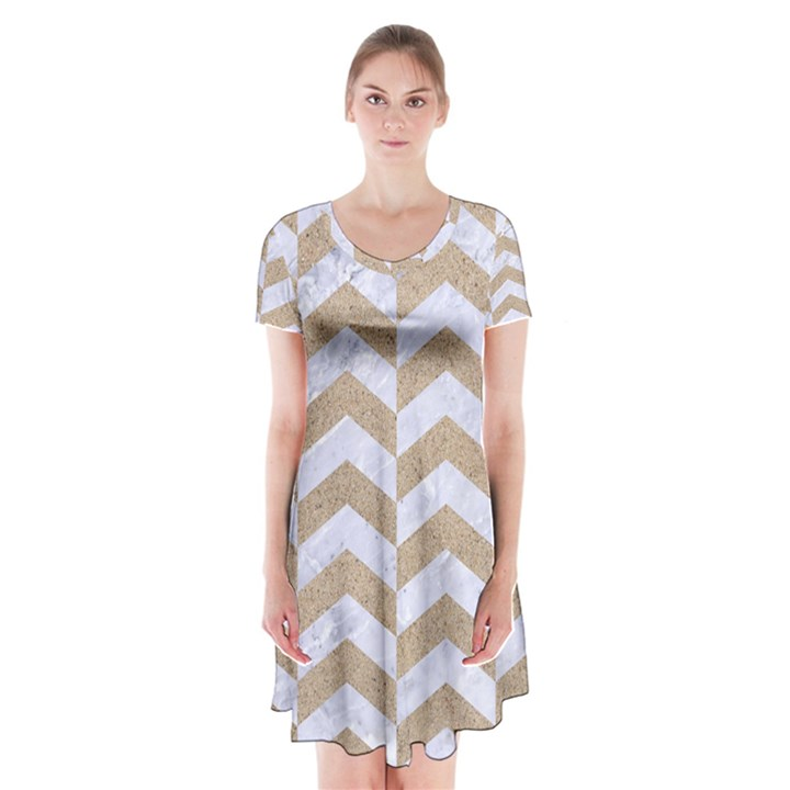 CHEVRON2 WHITE MARBLE & SAND Short Sleeve V-neck Flare Dress