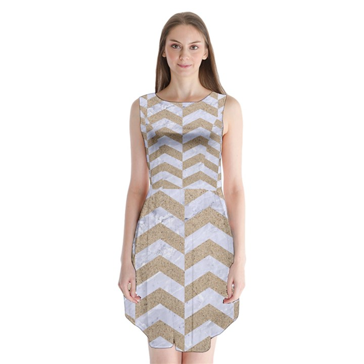 CHEVRON2 WHITE MARBLE & SAND Sleeveless Chiffon Dress
