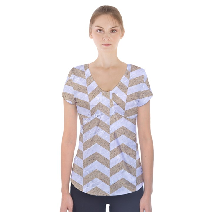 CHEVRON2 WHITE MARBLE & SAND Short Sleeve Front Detail Top