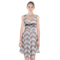 Chevron2 White Marble & Sand Racerback Midi Dress