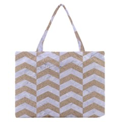Chevron2 White Marble & Sand Zipper Medium Tote Bag by trendistuff
