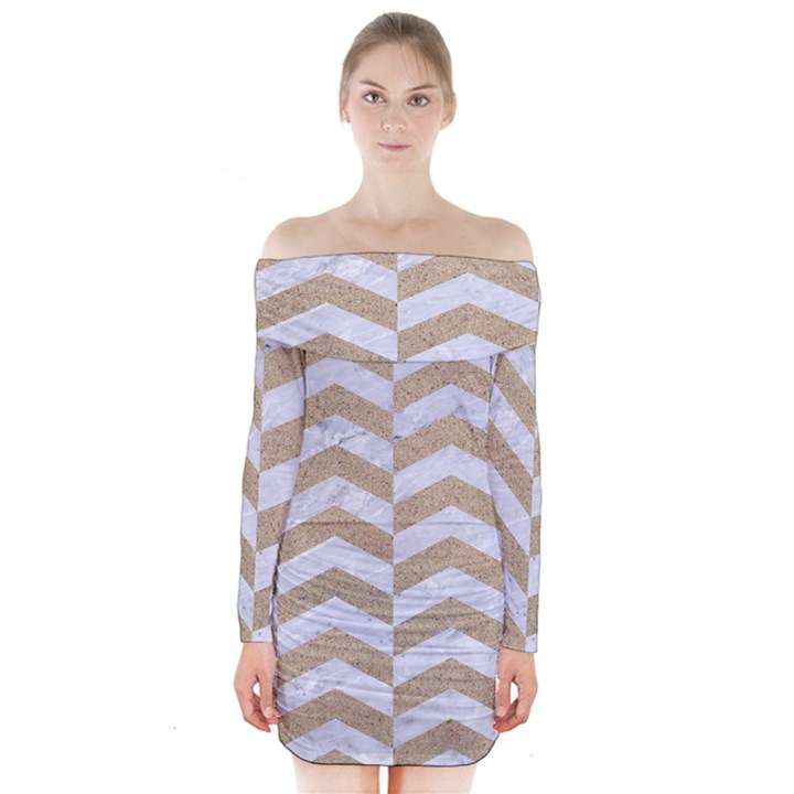 CHEVRON2 WHITE MARBLE & SAND Long Sleeve Off Shoulder Dress