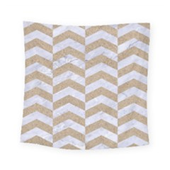 Chevron2 White Marble & Sand Square Tapestry (small)