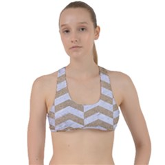 Chevron2 White Marble & Sand Criss Cross Racerback Sports Bra