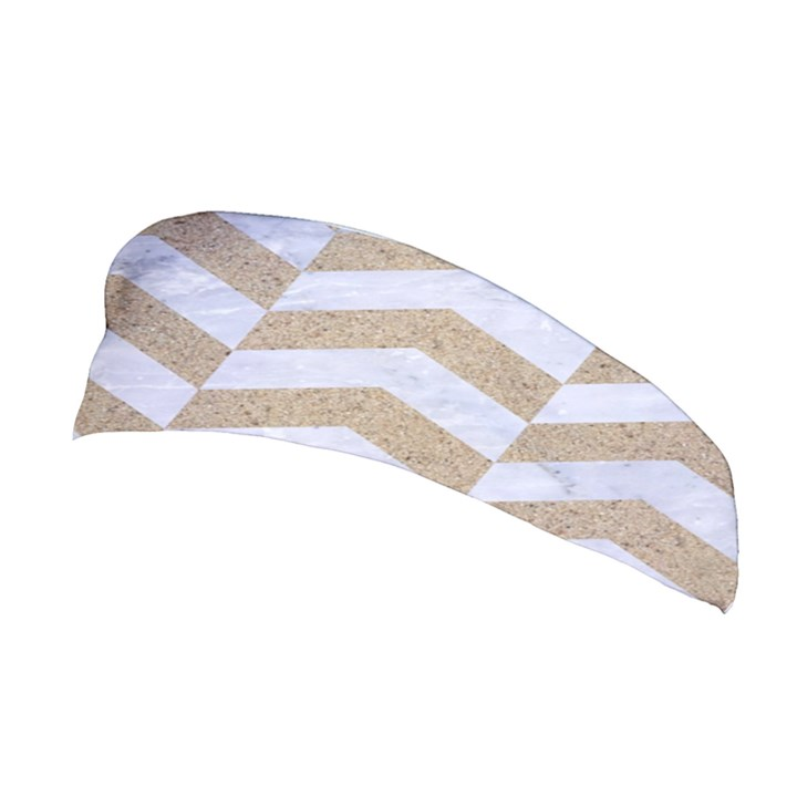 CHEVRON2 WHITE MARBLE & SAND Stretchable Headband