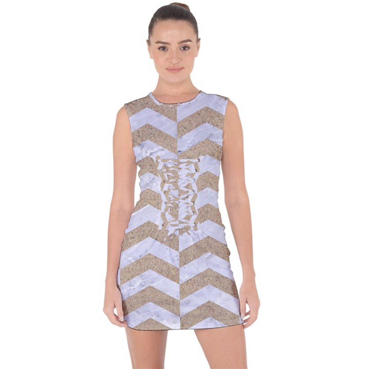 CHEVRON2 WHITE MARBLE & SAND Lace Up Front Bodycon Dress