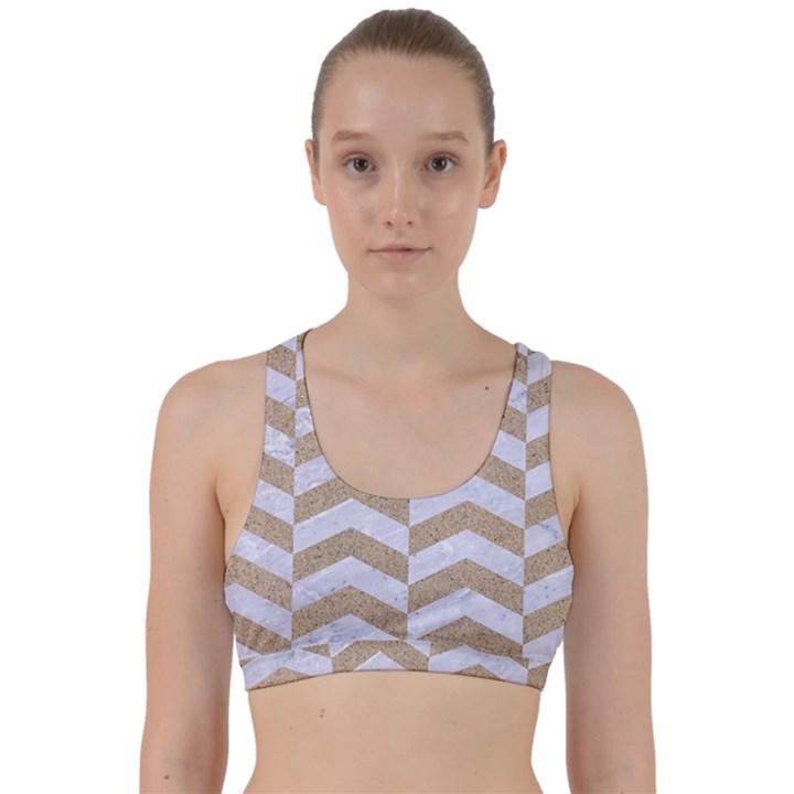 CHEVRON2 WHITE MARBLE & SAND Back Weave Sports Bra