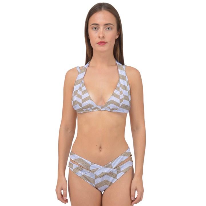 CHEVRON2 WHITE MARBLE & SAND Double Strap Halter Bikini Set