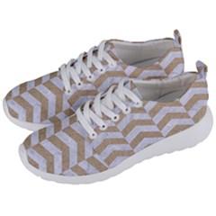 Chevron2 White Marble & Sand Men s Lightweight Sports Shoes by trendistuff