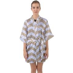 Chevron2 White Marble & Sand Quarter Sleeve Kimono Robe