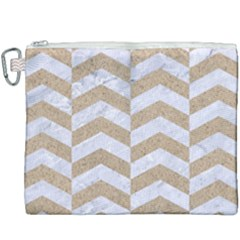 Chevron2 White Marble & Sand Canvas Cosmetic Bag (xxxl) by trendistuff