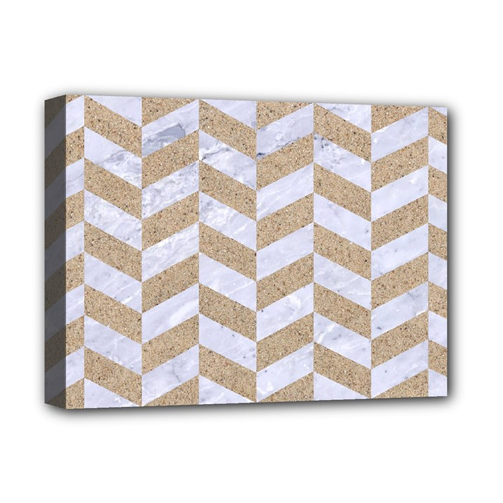 CHEVRON1 WHITE MARBLE & SAND Deluxe Canvas 16  x 12