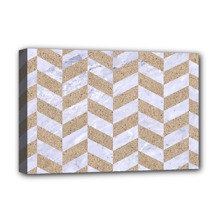 CHEVRON1 WHITE MARBLE & SAND Deluxe Canvas 18  x 12