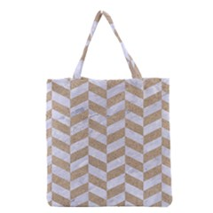 CHEVRON1 WHITE MARBLE & SAND Grocery Tote Bag
