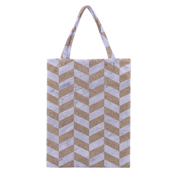 CHEVRON1 WHITE MARBLE & SAND Classic Tote Bag